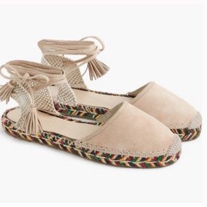 J. Crew Nude Suede Baja Espadrilles Sandals